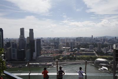 Uitzicht vanaf het Marina Bay Sands hotel